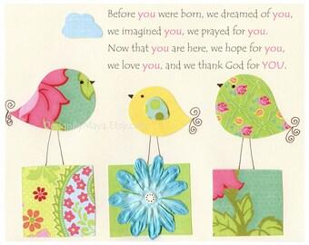 Nursery print, Baby Room Decor, Nursery Art, Love birds, Before you were born, match to daisy, kids room art, children room, Kumari Garden