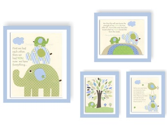 Baby room decor Nursery wall art print Art for baby Eli elephant Light blue Lime green Baby blue Green Featured in Project Nursery