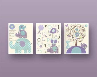 Baby girl Room Decor, Nursery art print, Set of 3 8x10, baby girl room art, baby girl, kids art, children room decor, purple, lavender, aqua