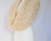 loop scarf unisex cream circular scarf hand knit cowl neckwarmer chunky winter men women  - soft acrylic yarn CHOOSE YOUR COLOR