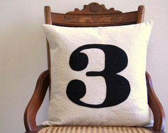 "number pillow cover,  typography font, industrial rustic, black appliqued, 16"" x 16"", urban farmhouse, cottage, house number"