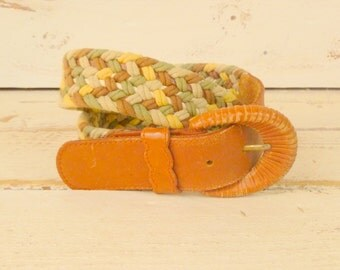 Vintage cotton woven rope leather belt
