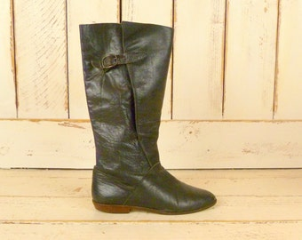 Black leather boots/leather mid calf boots/black buckle boots