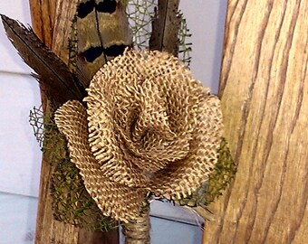 Burlap Rose and Pheasant Feather Boutonniere