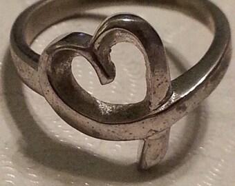 Vintage Sterling Silver Heart Ring 925 Promise Ring Love Romance Gift 1980s Girls Women