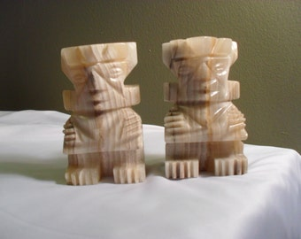 Pair of Aztec Statue Marble Bookends
