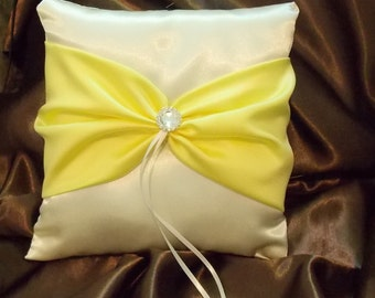 ring bearer pillow custom made white or ivory with yellow satin