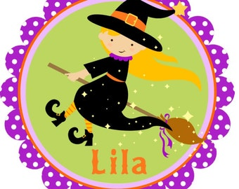 Adorable Sweet Little Blonde Halloween Witch Iron On