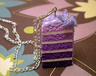 Purple Ombre Cake Necklace - Lilac Frosting with Flower Detail