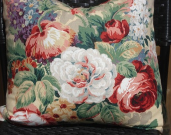 """Cabbage roses floral pillow cover designer fabric 18""""x18"""""""