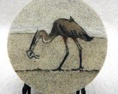 "Great blue heron 7"" circle original sand painting beach fish sand art work beach art heron North American birds catching fish"