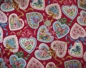 1.5 Yards Hearts Valentiine Floral Print Cotton Fabric Red Background Unused Cranston VIP Quilters