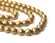 10mm Metallic gold glass beads, faceted round matte finish, Czech Fire Polished Glass, full & half strands available  (858G)