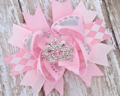 Pink princess crown bow, rhinestone hairbow, light pink royal crown hair bows, light pink bow, pink princess accessories, pink stacked bows