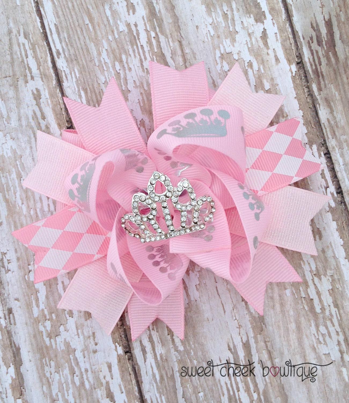 Pink princess crown bow rhinestone hairbow light pink royal