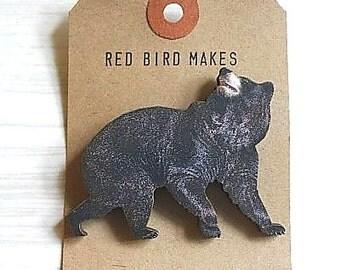 Woodland Black Bear Pin/Brooch