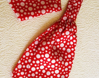 Ascot Tie Cravat with Pocket Square. Bright red, white dots