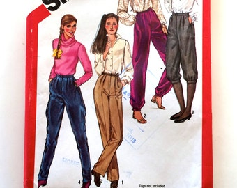 80s Simplicity 5236 Tapered Leg Pants or Knickers or Jodhpurs Size 12 Waist 26