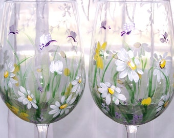 Daisy Wine Glasses Set of Two