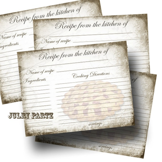 ... RECIPE CARD with Cherry Pie, Recipe Card, Wedding Gift, New Home