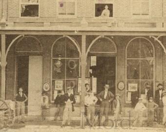 Rare Storefront CDV Bowlsby's Photography Studio in Monroe Michigan 1860s