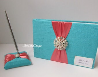 Wedding Guest Book and Pen Set - Custom Made