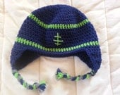 Crochet Football Hat -- Seahawks -- Newborn to Adult