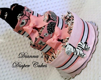 Baby Diaper Cake Zoo Animals Pink with Handmade Maryjanes Shower Gift or Centerpiece