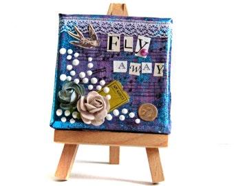 Shabby Chic Art -- Mini Painting -- Mixed Media Art -- Purple Art -- Decorative Art -- Boho Art -- Boho Decor  -- Gypsy Art -- Easel