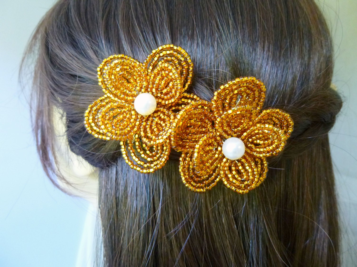 French Beaded Flower gold brown hair clips by LaurenHCreations