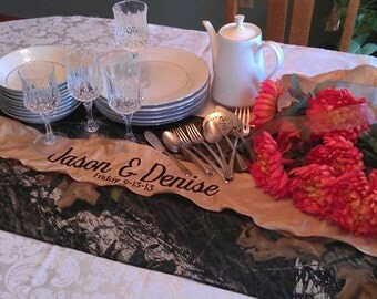 Wedding Embroidered Mossy Oak Grooms Dinner Table Runner Monogrammed and Personalized