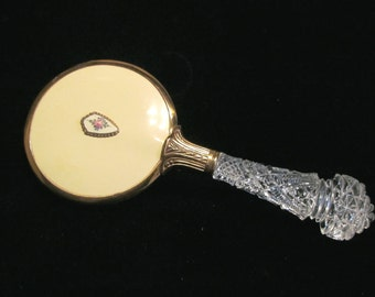 Vintage Guilloche Brush 1930's Brush Glass Handle Natural Bristle Hair Brush