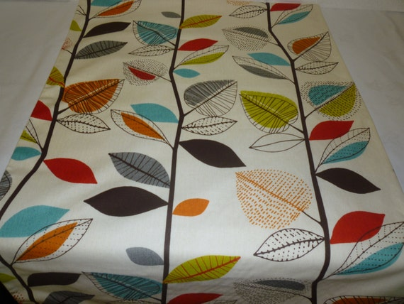 Orange Double Bed Runner Throw Brown Blue Funky Retro Floral