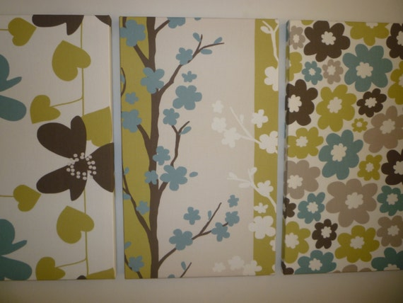 Items similar to green blue fabric wall art funky retro for Funky decor for home