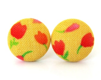 SALE Tiny stud earrings - tulip earrings - bright button earrings - funky yellow earrings - fabric covered - pink red orange flowers happy