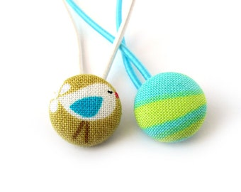 Bird hair ties - fabric button ponytail holders - blue green yellow white