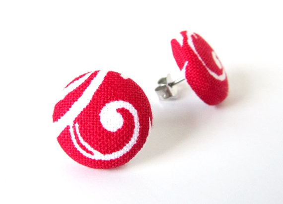 Red button earrings - red stud earrings - small fabric earrings - white swirl happy summer
