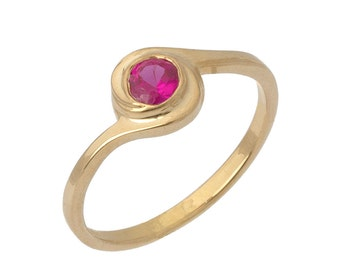 Retro Spiral Twist Ruby Solitaire Ring in 18k Rose Gold