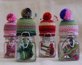 Mini Kilner Jar Bobble Hat  Pin Cushion and Storage