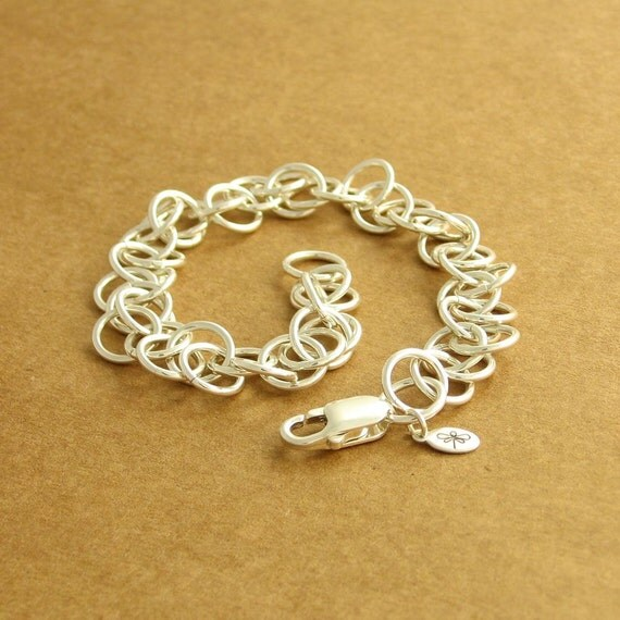 Chaos Chainmaille Bracelet, Sterling Silver, Large Chaos Pattern, Ready To Ship