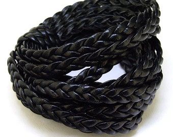 """10Feet 120"""" Black  Wave Leather Rope Dia.5mm Black Wrap Leather ,Handwork Wrap Cord, Make for your Jewelry , For Wrap Bracelet, Your Jewelry"""
