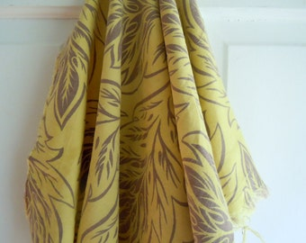 Vintage Khaki Green Leaf Print Vintage Fabric Remnant