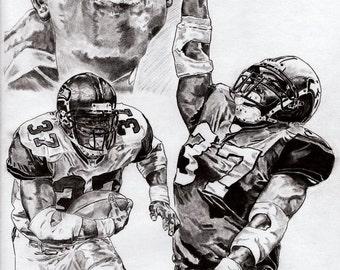 Seattle Seahawks Shaun Alexander Art Poster