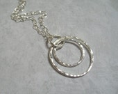 Circle Pendant Necklace Fine Silver Jewelry Sterling Silver Chain Hammered Silver