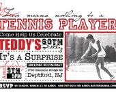 Age Means Nothing - Tennis Player 5x7 Birthday Invite