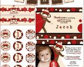 Red Sock Monkey Printable Party Package.Birthday Invitation, Thank You Card, Cup Cake Toppers and Water Bottle Labels