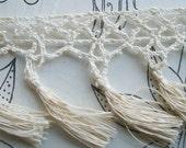 Lovely length of Antique French Ivory Cream Lace tassle Trim Edging Border ribbon