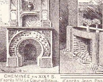 Beautiful French Antique Print Encylopedia Page 1920s Engraved Ilustrations Fireplace Fireside Hearth paper projects scrapbooking, collage