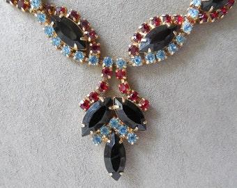 Vintage Juliana Red Black Blue Rhinestone Necklace & Long Dangle Earrings Set