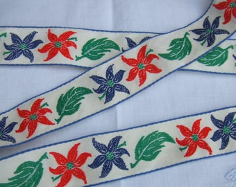 46 Inches. Vintage Woven Jacquard Trim. Over one inch Wide. Never Used. Fine Fabric. Alpine Style.